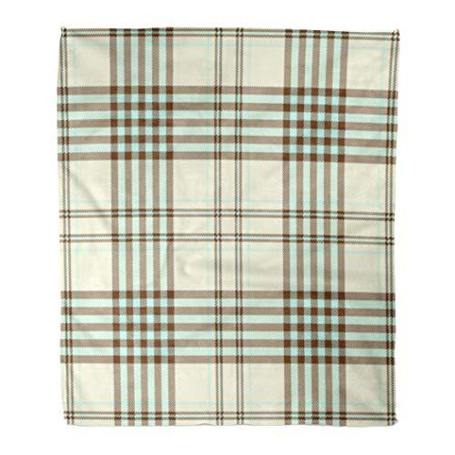 Emvency Flannel Throw Blanket Tartan Plaid Pattern Printing Pattern Checkered in Light Aqua Green Black Stripes on Pale Creamy Yellow 50x60 Inch Lightweight Cozy Plush Fluffy Warm Fuzzy Soft