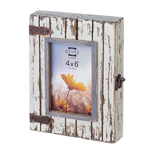 Prinz Rustic River Wood Box in Distressed Finish Box Lid Hold, 4 by 6-Inch, White