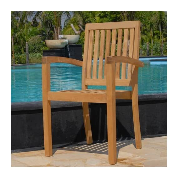 New 9pc Grade-A Teak Outdoor Dining Set-one Double Extension Table & 8 Patara Stacking Arm Chairs - Extra Thick (1.5 table frame table and 8 stacking chairs. Table measures 63/73/84(L)X40(W)inches (NO/ONE/Two extensions). Larger tables also available Stacking Chair is 23X23X34 Indonesian Teak NOT subspecies or inferior S American or African Teak wood, Tenon & Mortise construction using Indonesian Grade-A Kiln Dried teak wood. FSC certified manufacturer - patio-furniture, dining-sets-patio-funiture, patio - 51KJ9 OUUXL. SS570  -