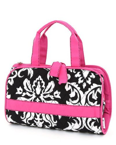 Belvah Quilted 3pc Damask Cosmetic Bag (BK/FS), Bags Central