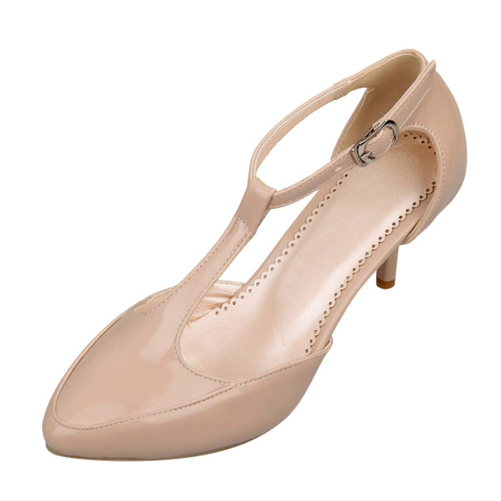 Clearance! Swiusd Women's Stiletto PU Leather Ankle Strap Buckle Thin Heel Party Single Shoes Elegant Office Lady Work Shoes (Beige, US 7.5) by Clearance! Swiusd
