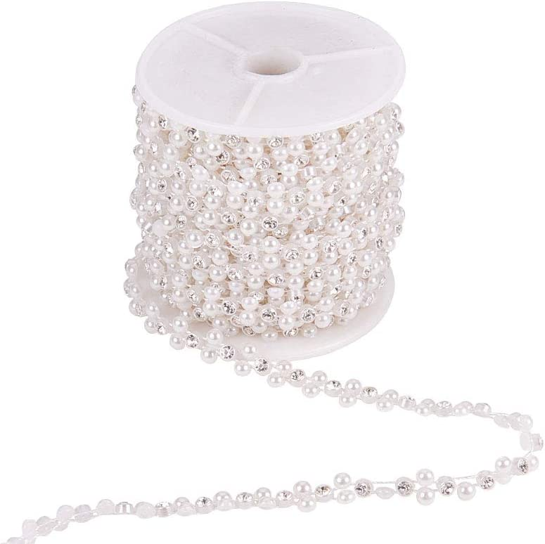 Flower White ABS Plastic Imitation Pearl Garland Strand Great Trimmings Sewing