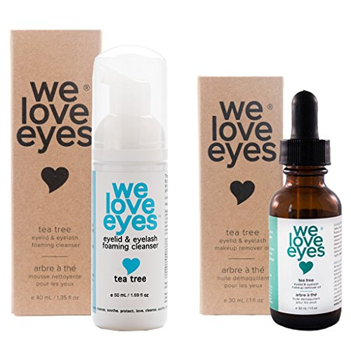 All Natural Tea Tree Eyelid Makeup Remover Kit(Makeup Remover Oil 30ml & Foaming Cleanser 50ml) Remove makeup, Moisturize, Wash Eyelashes. Blepharitis, Demodex, Dry Eyes Symptoms Relief. Toxin-Free