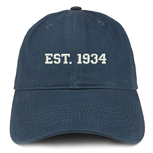 (Trendy Apparel Shop EST 1934 Embroidered - 85th Birthday Gift Soft Cotton Baseball Cap - Navy)