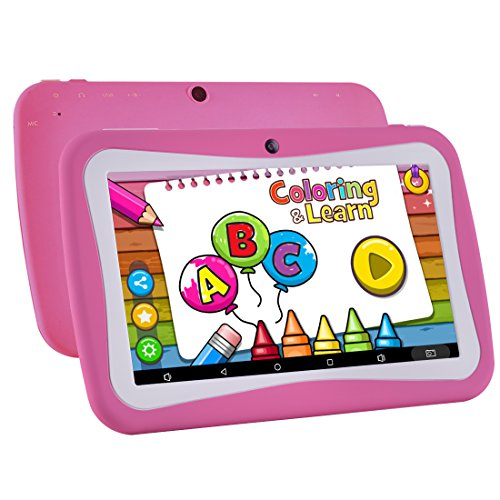 Kids Tablet Android 7.1, 7 Inch, HD Display, Quad Core, Children Tablet, 1GB RAM + 8GB ROM, with WiFi, Dual Camera, Bluetooth, Educational,Touch Screen Kid Mode,Parental Control (M red)