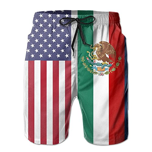 SARA NELL Mens American Mexican Flag Breathable Beach Board Shorts Swim Trunks Quick Dry