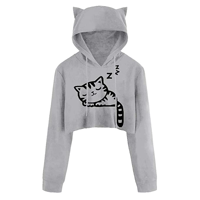 Cropped Hoodies, Womens Cute Sexy Cat Ear Hooded Kitty Print Short Sweatshirt Casual Blouse Tops Pullover at Amazon Womens Clothing store:
