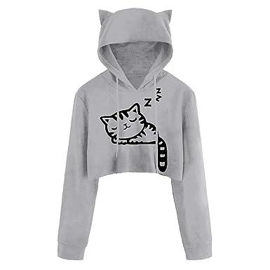 ❤ Sudadera con Capucha Corta Sudadera Mujer, Sexy Casual Manga Larga Cat Kitty Imprimir Sudaderas Cortas Blusa Top Pullover Absolute: Amazon.es: Ropa y ...