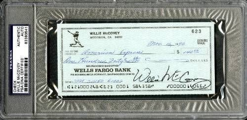 Willie Mccovey San Francisco Giants Signed Autographed Slabbed Personal Check PSA 83393541