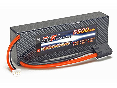7.4V 5500mAh 2S Cell 90C-180C HardCase LiPo Battery Pack w/ Traxxas High Current Style Connector w/ Warranty - Giant Power, Dinogy, Extreme Power, RTF (Lipo Battery Style)