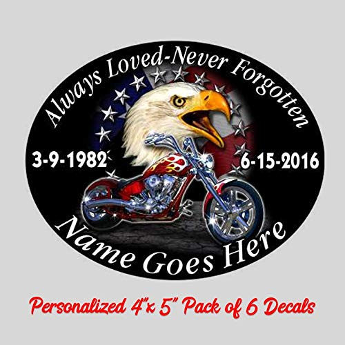 (Always Loved Never Forgotten Memorial Decal Eagle Motorcycle American Flag 4