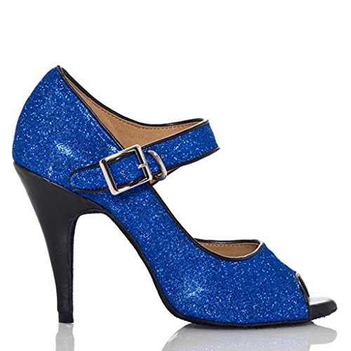 Crc Dames Hoge Hak Mode Ballroom Latino Tango Salsa Pailletten Mary Jane Open Teen Dans Sandalen Blauw