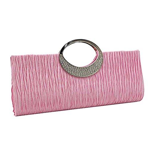 Diamante Satin Party Handbags Wedding Clutch Purse Pink Wallet Rhinestone Women Pleated Hot Bag Verus TEq4w5R