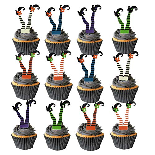 Coxeer Halloween Cupcake Toppers, 37 PCS Halloween Party Cake Toppers Witch Boots Cupcake Topper Picks with 37 PCS Cupcake Wrappers -