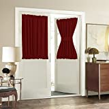 Ikea Blackout Curtains Rod Pocket French Door Curtain - Aquazolax Blackout Door Window Curtains W54 x L40-Inch Elegant Privacy - 1 Pair, Red