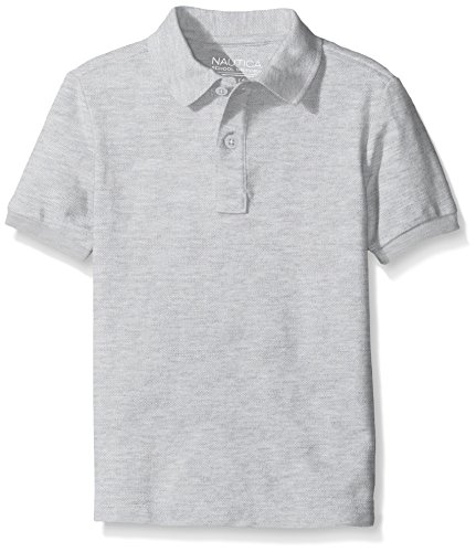 Nautica Husky Boys' Uniform Short Sleeve Pique Polo, Grey Heather, X-Large/18/20/Husky