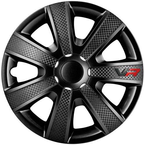 ASD TECH PP 5154B Pack de 4 Enjoliveurs Design Vr 14'' Noir Look Carbone/Logo on sale