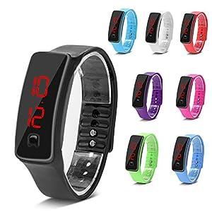 Montres Sport, LED Silicone Montre-Bracelet Temps Calendrier Bracelet Numérique Bracelet pour Femmes Hommes Sweatproof…