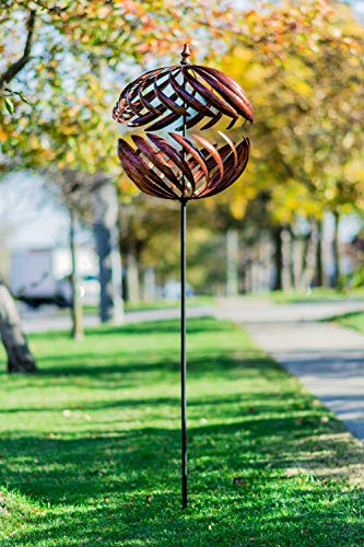 - Hi- Line Gift 78454-CP Bistratal Sphere Copper with Stake Wind Spinner