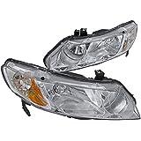 Spec-D Tuning 2LH-CV064-RS Honda Civic 4d Chrome Crystal Headlights Clear Lamps