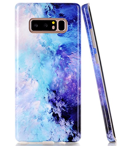 Galaxy Note 8 Case, Blue Mint Opal Marble BAISRKE Slim Flexible Soft Silicone Bumper Shockproof Gel TPU Rubber Glossy Skin Cover Case for Samsung Galaxy Note 8 (2017)