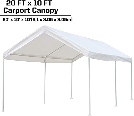 Amazon Com Kdgarden 10 X 20 Ft Carport Car Canopy Portable Garage Shelter For Auto And Boat Storage Outdoor Parties And Bbq Heavy Duty 1 1 2 6 Leg All Steel Frame With Water Resistant Uv Treated