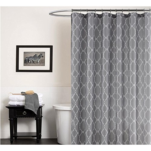 Cryseam Shower Curtains Gray Geometry Pattern for Bathroom W