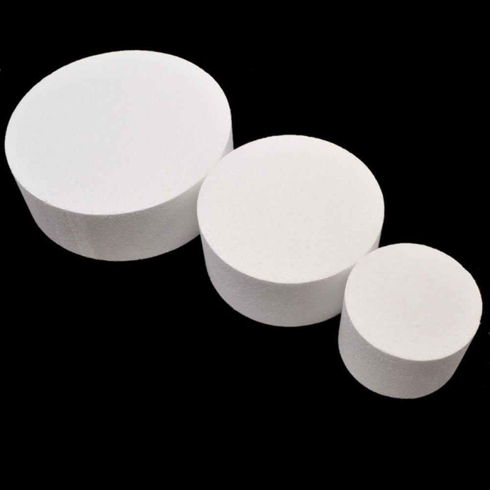 Yamalans 4/6/8inch Round Styrofoam Foam Cake Sugarcraft Decor Practice Model Cake Polystyrene Foam for Wedding Display Window, Decorating, Craft White 8 by Yamalans (Image #2)