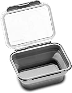madesmart Lidware Collapsible Food Storage - FRIDGE & PANTRY COLLECTION Airtight, Food Safe, Collapsible, Dry-Erase Space For Labeling, Small Deep - Holds 2.17 Cups, Gray