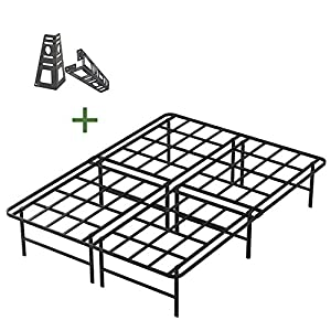 45MinST 16 Inch Tall Platform Bed Frame/2 Brackets Included/Mattress Foundation/3000LBS Heavy Duty/Extremely Easy Assembly/Box Spring Replacement/Quiet Noise-Free, TXL/Queen/King/Cal King