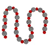 Raz Imports Red Alternating with Black and White Plaid Polyester Ball Garland 4 Foot