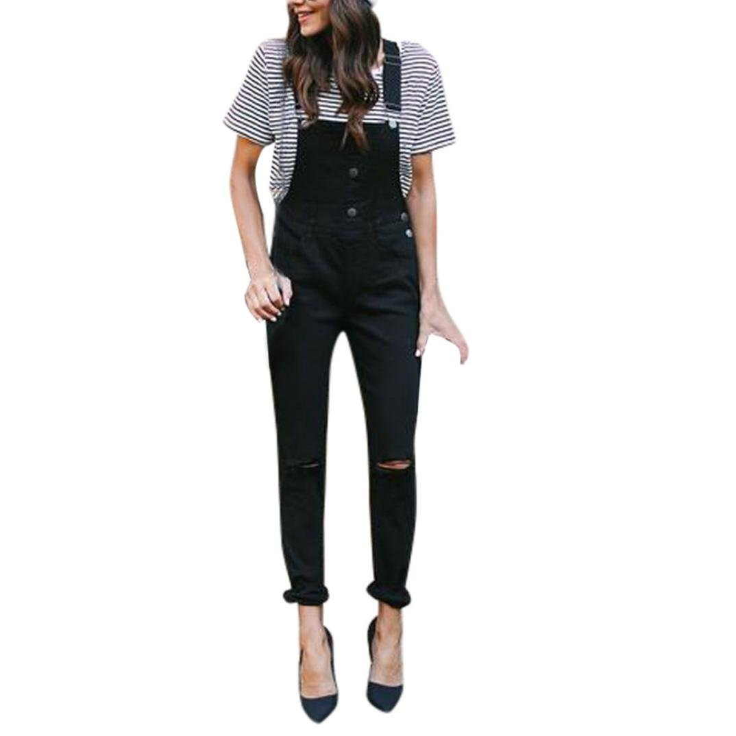Rambling Fashion Women Loose Denim Bib Hole Pants Overalls Jeans Demin Trousers Jumpsuit