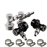 MRbrew Ball Lock Keg MFL Disconnects Set(2 Pair), Ball Lock Keg Fittings with Stainless Steel Swivel Nuts 5/16 Gas, 1/4 Liquid Barbed & Extra 4 Worm Clamp