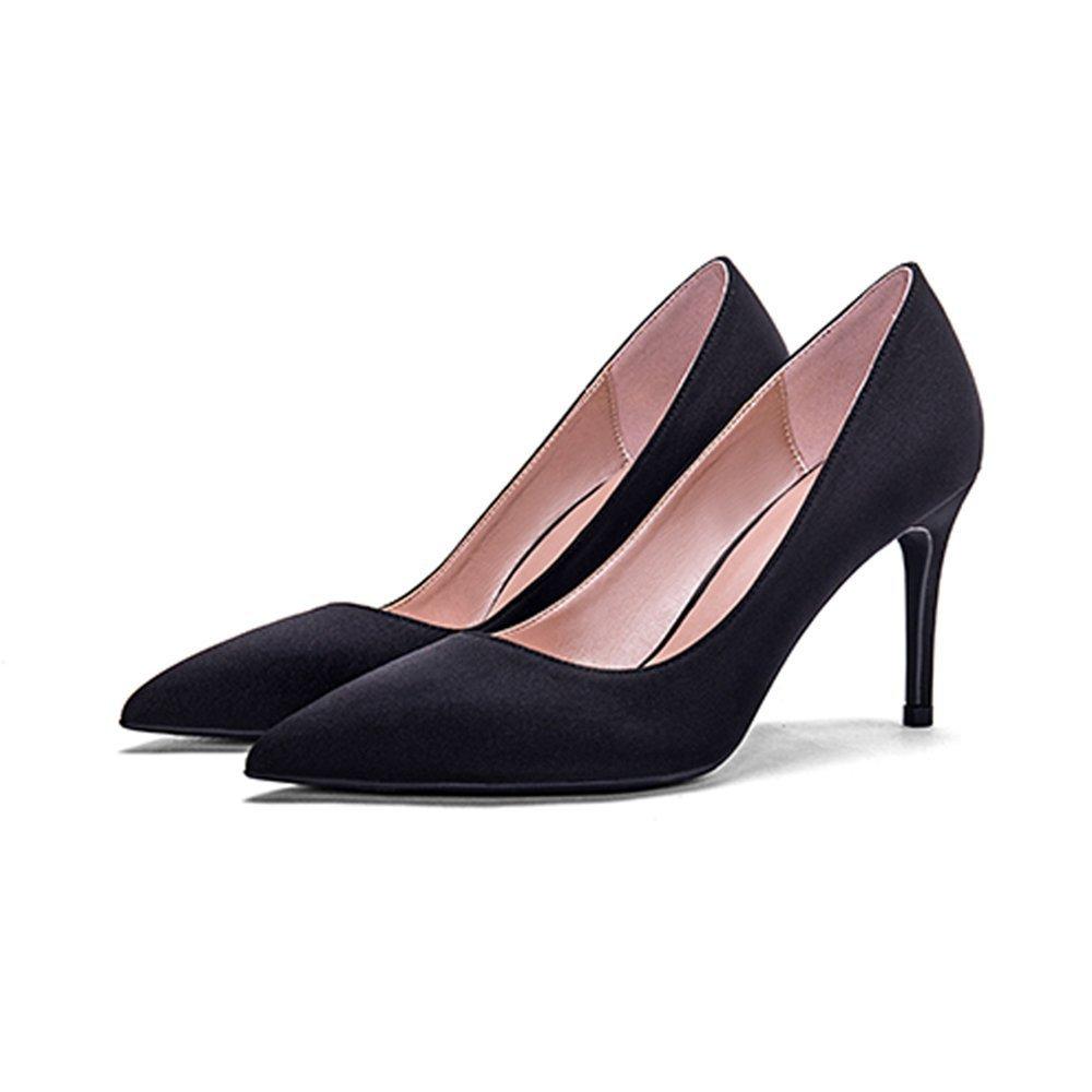 GAIHU Schuhe 8 cm Schwarz frische High Heels, Spitzen Fein mit flachen Mund echte Seide Satin  schwarz8cm