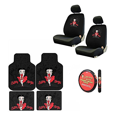 A 7 Piece Betty Boop Gift Set: 2 Lowback Seat Covers, 2 Front Floor Mats, 2 Rear Floor Mats, and 1 Steering Wheel Cover. - Betty Boop