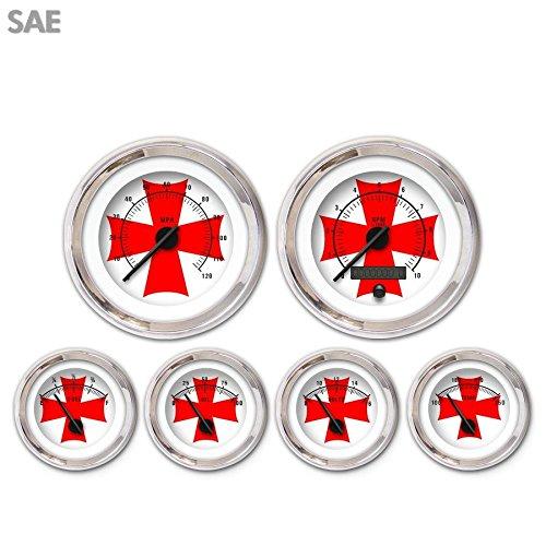 Aurora Instruments 3502 Iron Cross White Red Cross SAE 6-Gauge Set Black Modern Needles, Chrome Trim Rings, Style Kit DIY Install