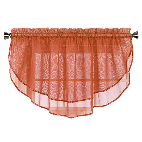 Sheer Voile Valance Curtain for Windows Size 54 in X 24 in Scalloped with Ribbon for Kitchens, Living Room, Dining Room, Bathroom, Bay Windows, Basement, Laundry Room (Rust)