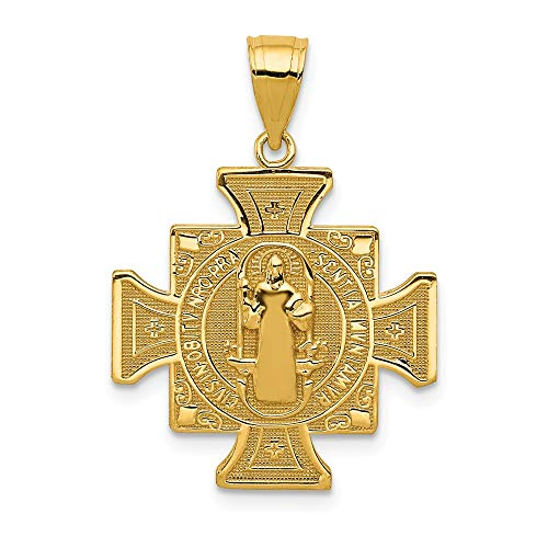 14k Yellow Gold San Benito 2 Sided Cross Religious Pendant Charm Necklace Patron Saint Medal St Benedict Fine Jewelry Gifts For Women For - Medal 2 Sided