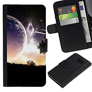 Planetar® Modelo colorido cuero carpeta tirón caso cubierta piel Holster Funda protección Para Samsung Galaxy S6 / SM-G920 ( Sci Fi Romantic Planet )