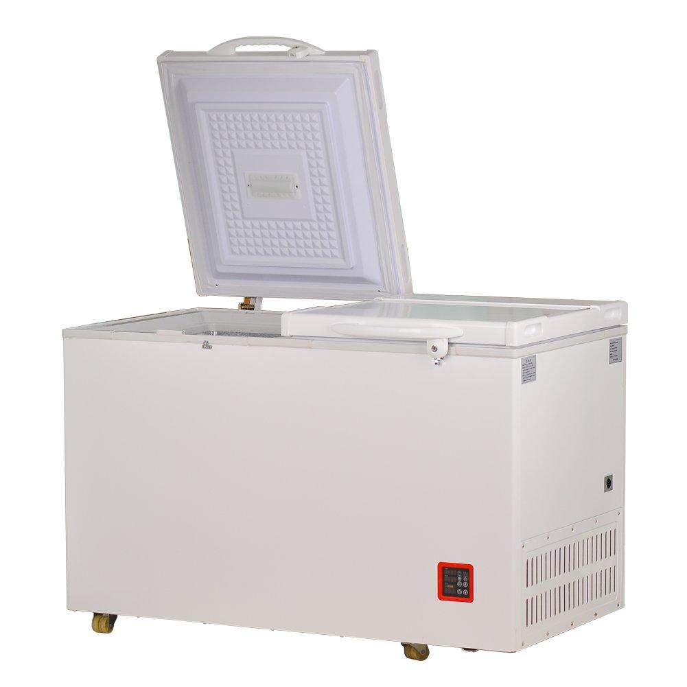 Smad Solar Powered Chest Freezer DC/AC Refrigerator and Freezer Double Door,7.5 cu.ft.,White