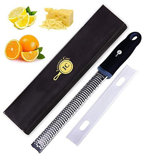 (Integrity Chef PRO Citrus Zester & Cheese Grater | Ergonomic Non-Slip Grip Handle, Dishwasher Safe, Antibacterial Cover, Lemon Zester Tool | Handheld Rasp for Ginger, Garlic, Vegetables | SAVE A LIFE!)