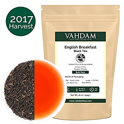 Original English Breakfast Tea Leaves (200+ Cups) Strong, Rich & Flavoury, 2017 Harvest, Sourced Direct from Plantations in India, 16-ounce Bag by VAHDAM TEAS