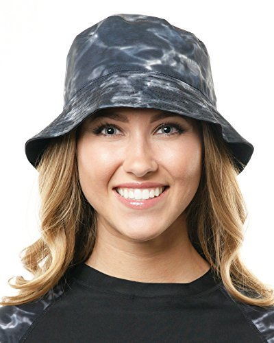 Aqua Design Women's SunGuard Reversible Bucket Ladies Hat, Black Water Aqua Bucket Hat