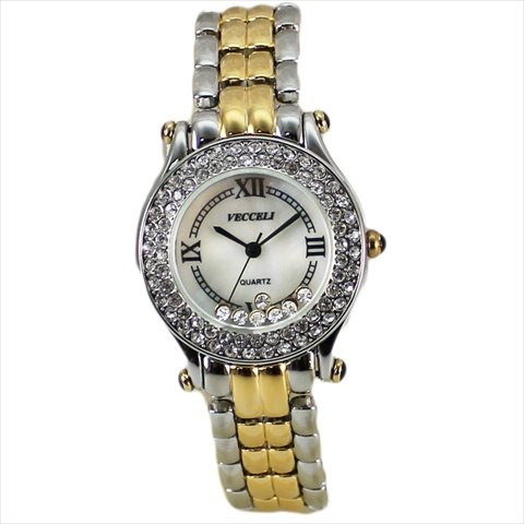 Vecceli Italy L-518-silver-gold White Ladies Watch Band Silver White Gold Pocket Watch