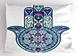 Ambesonne Hamsa Pillow Sham, Eastern Culture Belief Turkish Spiritual Symbol in Retro Arabian Style, Decorative Standard King Size Printed Pillowcase, 36 X 20 inches, Blue Light Blue Purple