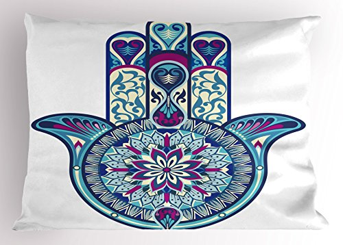 Ambesonne Hamsa Pillow Sham, Eastern Culture Belief Turkish Spiritual Symbol in Retro Arabian Style, Decorative Standard King Size Printed Pillowcase, 36 X 20 inches, Blue Light Blue Purple by Ambesonne