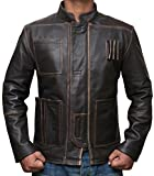 The Force Awakens Han Solo Jacket - Brown Real Leather Jacket Christmas gift ideas (L - for Chest Size 42'', Brown) [RL-HNSO-BR-XL]