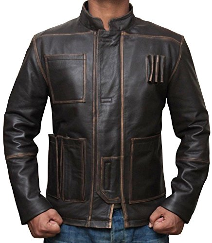 Ewok Costume Pattern (Star Wars Han Solo Jacket - Brown Halloween cosplay costume Jacket REAL LEATHER (M - for Chest Size 40