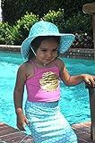 Flap Happy Baby Girls UPF 50+ Summer Splash Swim Hat, Ocean Tails, Small