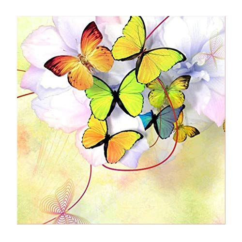 (DENER❤️ 5D Embroidery Paintings Beautiful Butterflies Rhinestone Pasted DIY Diamond Painting Cross Stitch Decoration (30x30cm) (Multicolor))